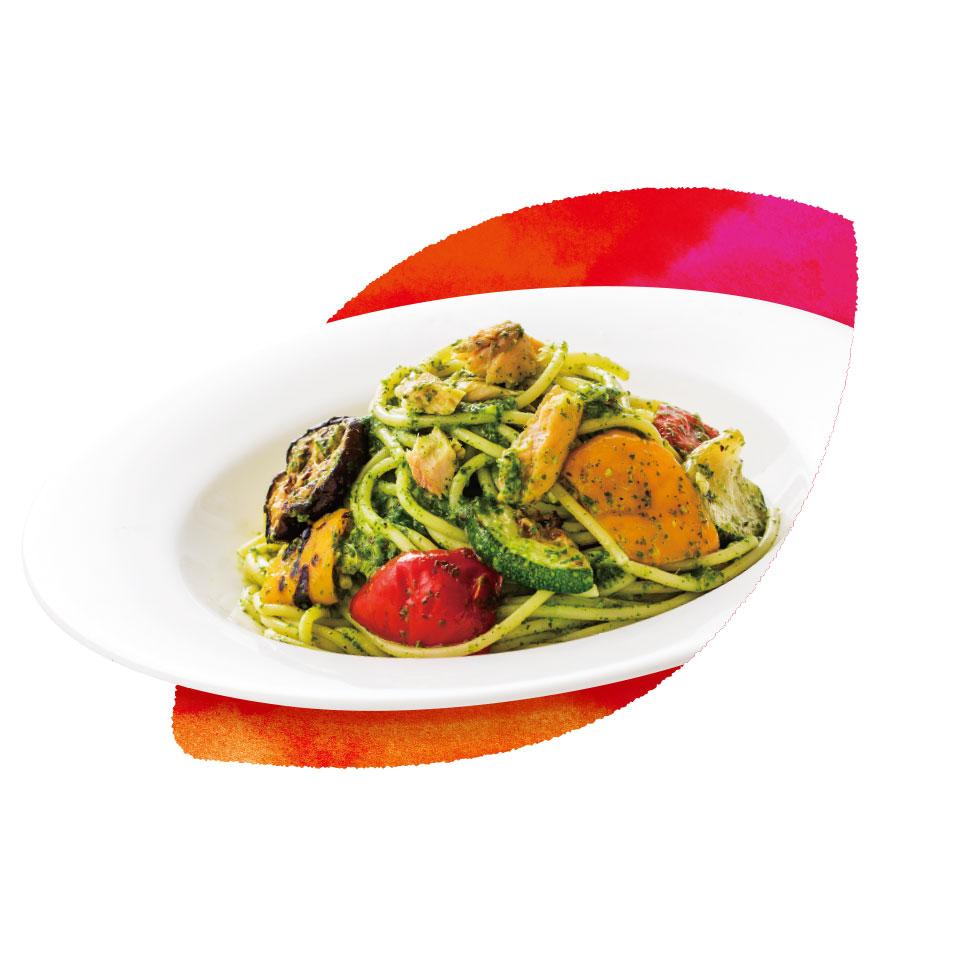 秋鮭とグリル野菜のバジルソース